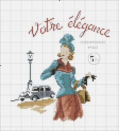 point de croix vintage parisian woman - cross stitch parisienne vintage Plus Vintage Cross Stitches, Counted Cross Stitch Patterns, Cross Stitch Charts, Cross Stitch Designs, Cross Stitch Embroidery, Embroidery Patterns, Hand Embroidery, Crochet Cross, Le Point
