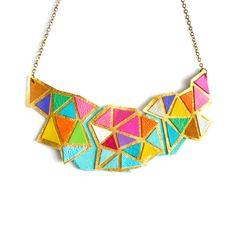 Necklace leather triangle geometric statement necklace diy inspiration jewelry