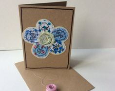 Items similar to Handmade card with free motion embroidery on Etsy