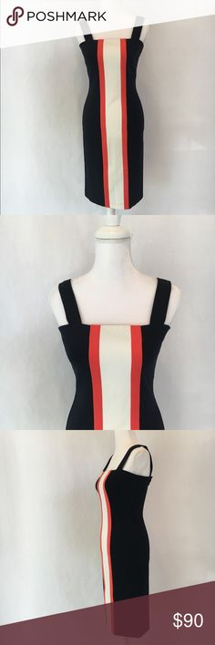 "NWOT DVF Porta colorblock vertical stripe dress Diane von Furstenberg casual yet elegant navy blue, coral, and white colorblock vertical stripe bodycon sheath dress  Square neck with wide straps NWOT fabric has lots of stretch: 71% viscose, 23% polyamide, 6% elastane   Measurements are approximate, taken with garment lying flat. Strap drop (top of strap to top of dress): 7"" Bust (armpit to armpit): 16"" Waist: 14"" Hips: 17"" Length (top of body to hem): 34"" Bundle with other items and save! I…"