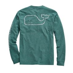 Vineyard Vines Long-Sleeve Vintage Whale Heather Pocket T-Shirt in Grass