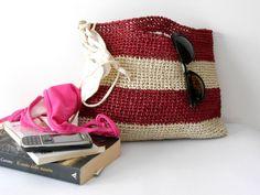 Elegant summer bag, crochet purse, crochet handbag of cellulose raffia, block colors bag, burgundy and ivory, vintage style handmade bag