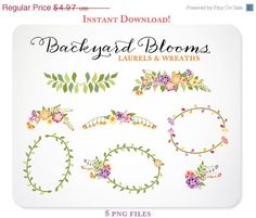 8 Flowers Laurels and Wreaths Design Elements - Hand Drawn Graphics perfect for Scrapbooking or Embellishing your Blog or Website, or creating wedding invitations https://www.etsy.com/listing/152248428