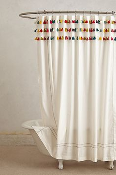 Curtain Liner Lindi Fringe Shower Curtain - - you could make these tassels with butcher twine!Lindi Fringe Shower Curtain - - you could make these tassels with butcher twine! Tassel Curtains, Diy Curtains, Curtains With Pom Poms, Fancy Shower Curtains, Bathroom Shower Curtains, Colorful Shower Curtain, Bathroom Showers, College Apartments, Curtain Designs