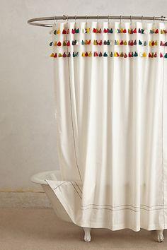 Lindi Fringe Shower Curtain #anthropologie
