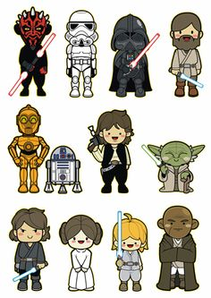 11 Pcs Star Wars Cute Character Vinyl Stickers for Laptop Luggage Skateboard - Stickers Star Wars Birthday, Star Wars Party, Star Wars Drawings, Cute Drawings, Star Wars Characters, Cute Characters, Aniversario Star Wars, Star Wars Cartoon, Star Wars Stickers