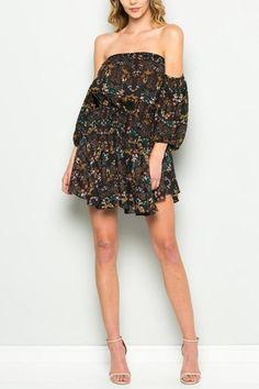Shoptiques Product: Off Shoulder Flower Dress - main