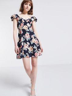 Navy Dylan Vintage Bardot Flippy Dress