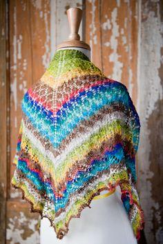 Noro yarn shawl