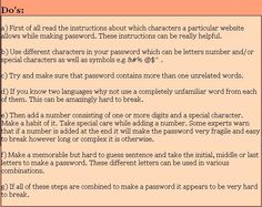 How To Have A Strong Password - Do's