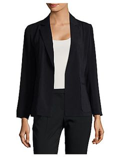 Ellen Tracy Petite Open Front Notch Collar Jacket