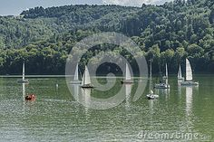 Sailing Regattat on the Lake in Roznow , Poland.