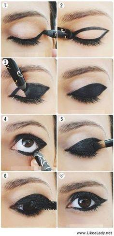 girly, diy, black makeup, fashion, makeup tutorial, girl, makeup, tutorial, diys, beauty, eyes tutorial