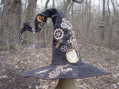 Steampunk Witch/Wizard Hat with Embroidered by TheMagicSpindle, $85.00