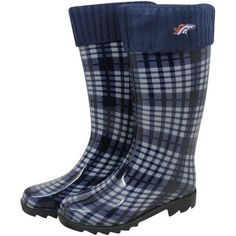 Denver Broncos Ladies Navy Blue Plaid Cuffed Rain Boots