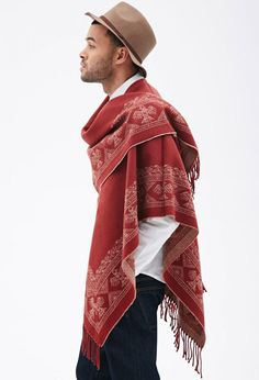 Southwestern-Patterned-Poncho, Forever 21, Men's Spring Summer Fashion.