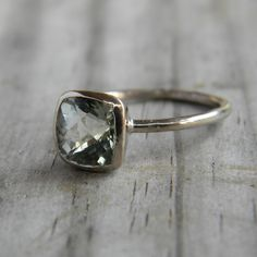 14k White Gold and Green Amethyst Cushion Ring $603