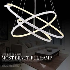 170.00$  Watch now - http://aliw7u.worldwells.pw/go.php?t=32781278230 - Modern minimalist led chandelier creative artistic personality restaurant room circle ring light acrylic lamp
