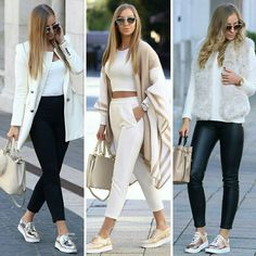 💕 Black and white basics w/ a pop of beige and some comfy sneakers Spring Outfits, Trendy Outfits, Fashion Outfits, Womens Fashion, Spring Wear, Look Jean, Work Fashion, Casual Chic, Casual Looks