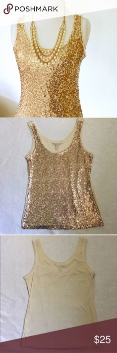 banana republic gold sequin tank Beautiful Banana Republic ivory and bronze sequin tank. Comfy cotton in the back and shimmery sequins in the front! Works great under a cardi or blazer. Excellent condition with all sequins intact. Size XS.🎉Host Pick 10/18🎉 / tank, tank top, blouse, top, sequin, sequins, sequence, sparkle, glitter, BR, banana republic / Banana Republic Tops Tank Tops