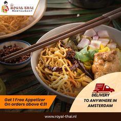 Satiating oriental flavours for you. Enjoy the tasteful journey now! . . . . . #SafetyFirst #OnlineOrder #FreeDelivery #Thai #ThaiFoods #ThaiDishes #Cuisines #FoodPorn #Foodie #ThaiCuisine #Restaurant #Yummy #Delicious #ThaiFoodLover #FoodLovers #FoodBlogger #SeaFood #ThaiRestaurant #RoyalThai #HygienicEnvironment Best Thai Restaurant, Thai Dishes, Amsterdam, Seafood, Oriental, Food Porn, Appetizers, Journey, Chicken