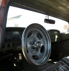 custom steering wheel made from a wheel
