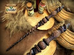 Wand Wizard - beech wood - carved by hand - inspired Nordic, Celtic, Viking - brown tint - handmade Wizard Staff, Wizard Wand, Staff Magic, Fairy Oak, Le Gui, Harry Potter Magic, Whittling, Book Crafts, Spiral