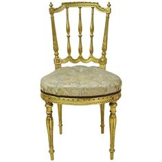Preowned Belle Époque French Gilded Salon Chair With Spindle-back And... ($1,650) ❤ liked on Polyvore featuring home, furniture, chairs, brown, side chairs, gilt chair, brown chair, tufted furniture, brown tufted chair and secondhand furniture