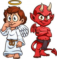 Cartoon angel and devil. Vector clip art illustration with simple gradients. Each on a separate layer. Cute Girl Illustration, Character Illustration, Character Creator, Character Concept, Graffiti Characters, Cartoon Characters, Engineer Cartoon, Devil Tattoo, Doodle Art Drawing