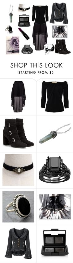 """""""Look gótico de diario."""" by madame-macabre ❤ liked on Polyvore featuring Michael Kors, Yves Saint Laurent, REGALROSE, NOVICA, NARS Cosmetics and Smashbox"""