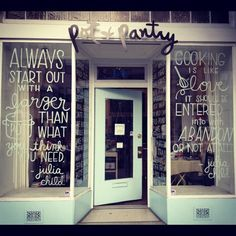 Your store front is one of the best places to truly entice potential clients to step foot through your doors. Make sure your salon window display ideas are Store Front Windows, Shop Windows, Retail Windows, Boutiques, Bistro Decor, Cafe Shop, Shop Fronts, Shops, Shop Window Displays