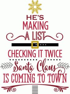 Silhouette Design Store - View Design #71387: santa claus is coming to town - word tree