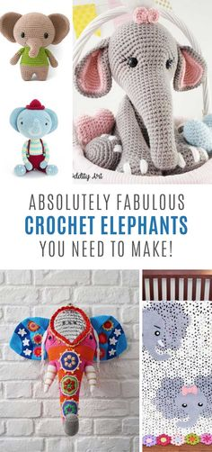 25 Easy Elephant Crochet Patterns that Make Great Gift ideas! 25 Easy Elephant Crochet Patterns that Make Great Gift ideas!,Crafts and More Whether you want to make a homemade baby shower gift, a toy. Crochet Elephant Pattern Free, Elephant Applique, Crochet Crafts, Crochet Toys, Crochet Projects, Amigurumi Free, Crochet Patterns Amigurumi, Baby Blanket Crochet, Crochet Baby