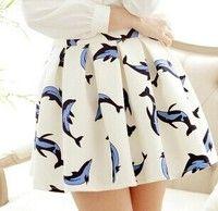 Wish | Fashion women's fresh cute dolphin printed skirt elastic waist pleated saias animal fish mini short bust sun skirts (Color: White)