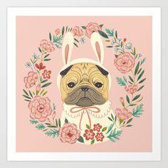 Bunny Pug Art Print