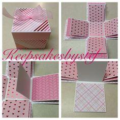 Valentine Explosion Box - Pink hearts by Keepsakesbystef on Etsy