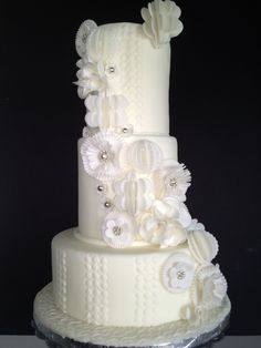 White Modern Fantasy Flower Wedding Cake