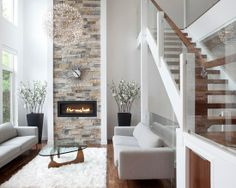Home Decor Modern Living. Loooovee that fireplace! Definitely not good for kids... all the white.