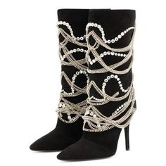 Boot Type: Fashion Boots Material: Suede Lining Material: PU Outsole Material: Rubber Toe: Pointed Toe. Flat Boots Outfit, High Heel Boots, Heeled Boots, Cheap High Heels, Black Rhinestone, Boots For Sale, Mid Calf Boots, Shoe Collection, Vestidos