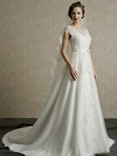 White Appliques Cap Sleeves A-line Lace-up Chapel/Church Wedding Dress  at Nextdress.co.uk