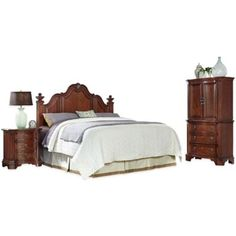 Home Styles Santiago 3-Piece Headboard, Nightstand and Door Chest Set in Cognac - BedBathandBeyond.com