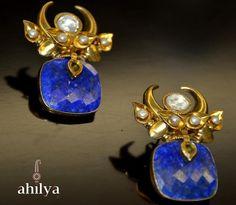 Lapis Lazuli Crescent Earrings