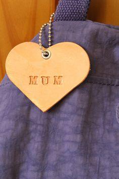 Mum Heart Bag Charm  Mum Leather Keepsake  by TinasLeatherCrafts. Repin To Remember.