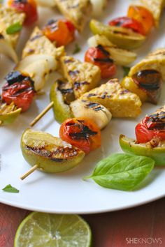 Get your grill going on a #MeatlessMonday!  Basil-lime Grilled Tempeh and Tomato Skewers Skewer Recipes, Veggie Recipes, Grilled Recipes, Cooking Recipes, Veggie Meals, Vegetarian Recipes, Savoury Dishes, Food Dishes, Vegetarian Barbecue