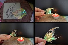 Wing Tutorial by ravenoo.deviantart.com on @deviantART -At first get a paper, draw the lines of the wing and get a transparent foil and some 0,20mm wire. Glue the wire on the foil. Cut it out. Put it nearer and nearer to the candle light and ta-daaa your fairy wings are ready to use!