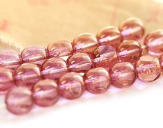 Rose pink czech round cut glass beads with luster  by MayaHoney, $1.95
