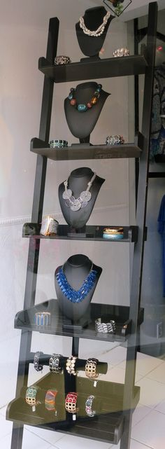 You can find a wide variety of styles of jewelry bust forms at Mannequin Madness to display like this