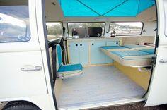 Camper van VW interior bed down