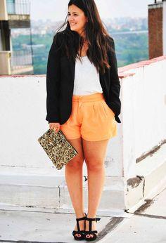 Coral…  , Zara in Blazers, Zara in T Shirts, H in Shorts, Lefties in Heels / Wedges, Zara in Clutches