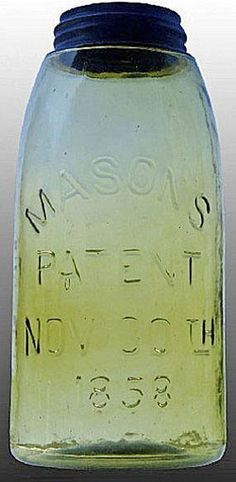 Mason's, Patent Nov 30th 1858, Yellow Olive, 12 Gallon.A half-gallon Mason's Patent Nov 30th 1858 glass fruit or canning jar in yellow olive